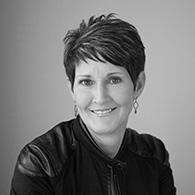 Black and white photo of consultant Tammy Kelly