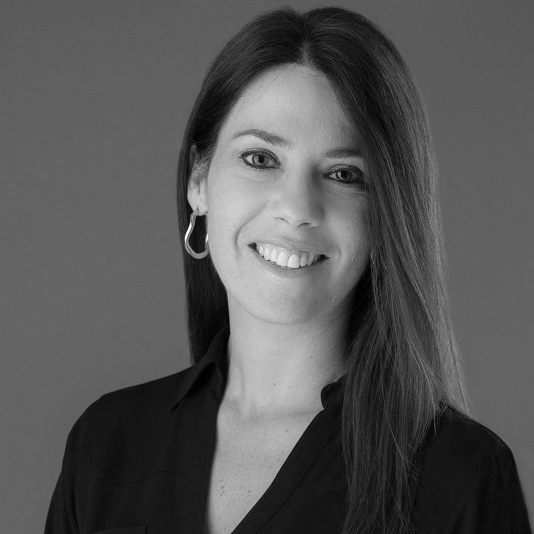 Black and white photo of consultant Lia Eleopoulos