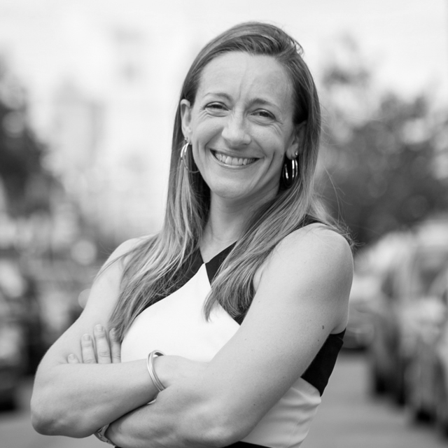 Black and white photo of consultant Lindsay Musser Pacheco