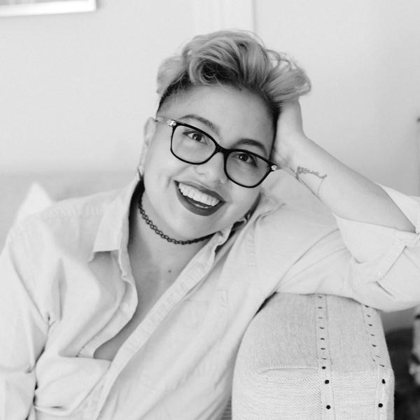 Black and white photo of consultant Camila Arguello