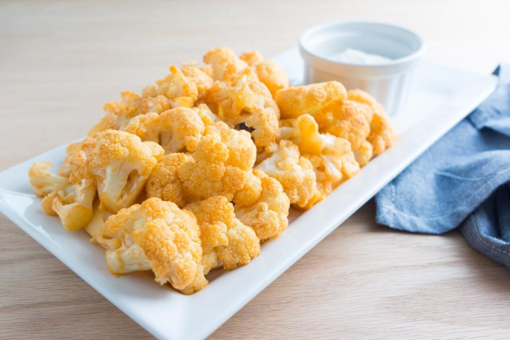Buffalo Cauliflower with Blue Cheese Dip