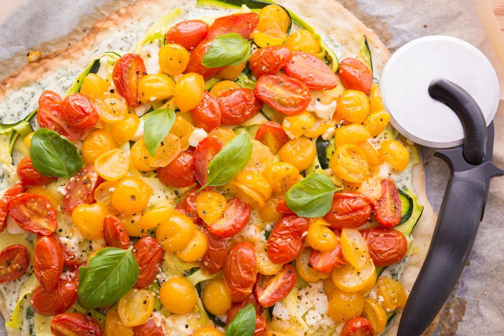 Summertime Zucchini Ricotta Pizza