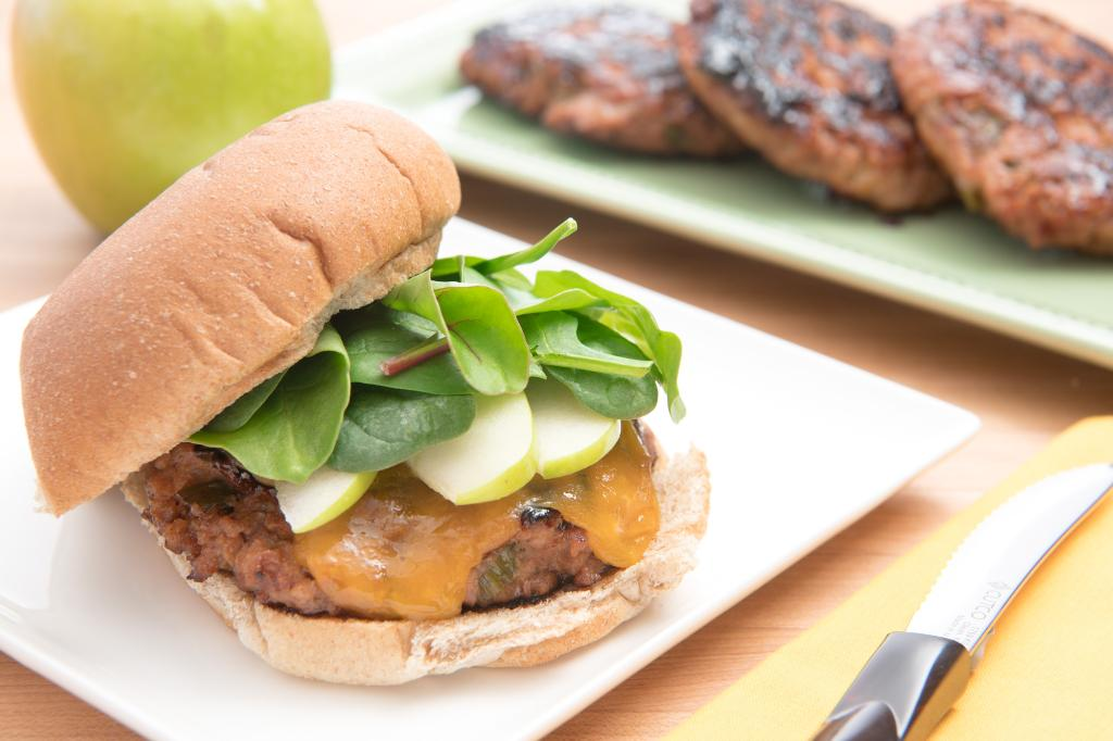 Barbecue Chicken Burgers with Cheddar, Apple and Microgreens