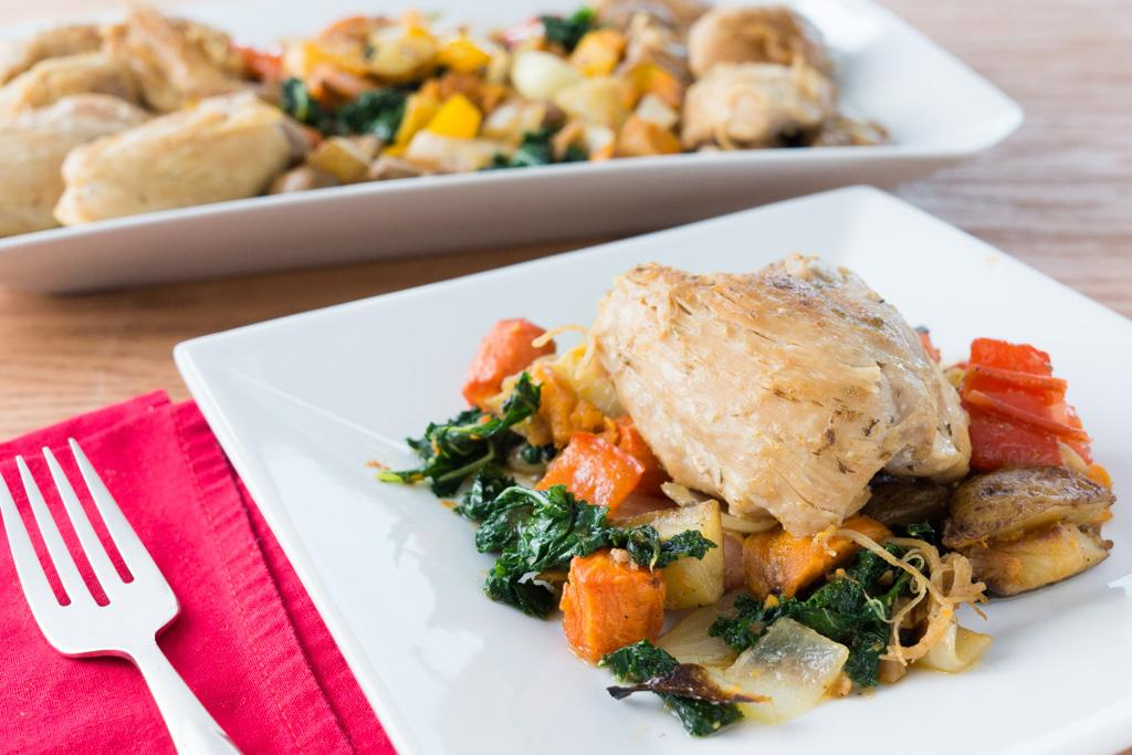 Braised Chicken Thighs with Roasted Vegetables