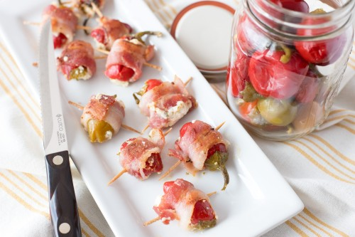 Cheese Stuffed Cherry Peppers Wrapped in Bacon