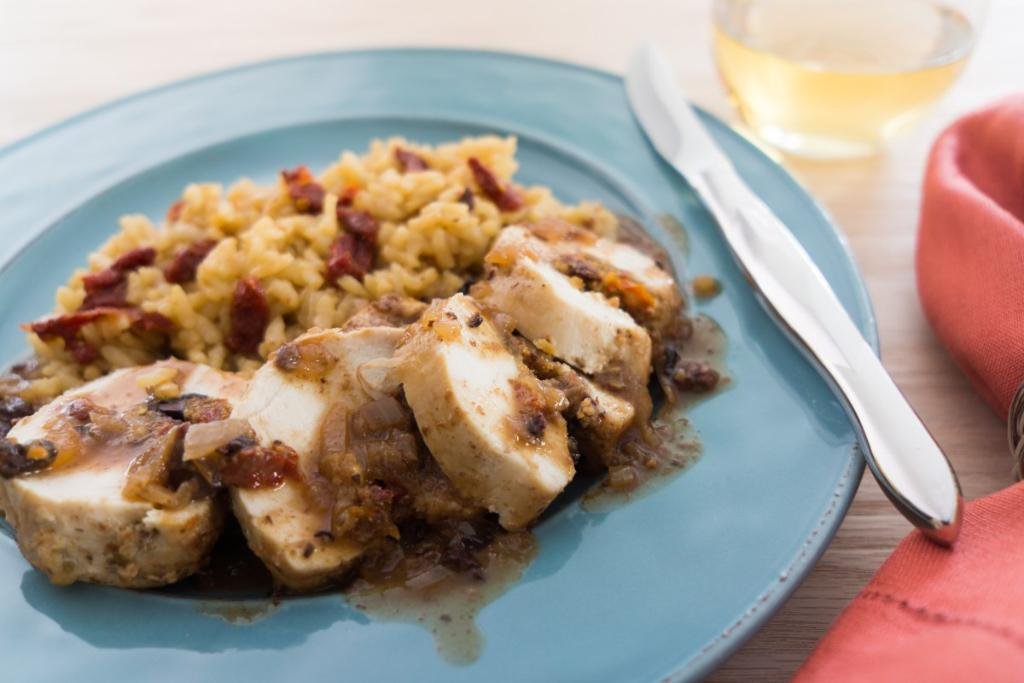 Chicken Roulades with White Wine Reduction