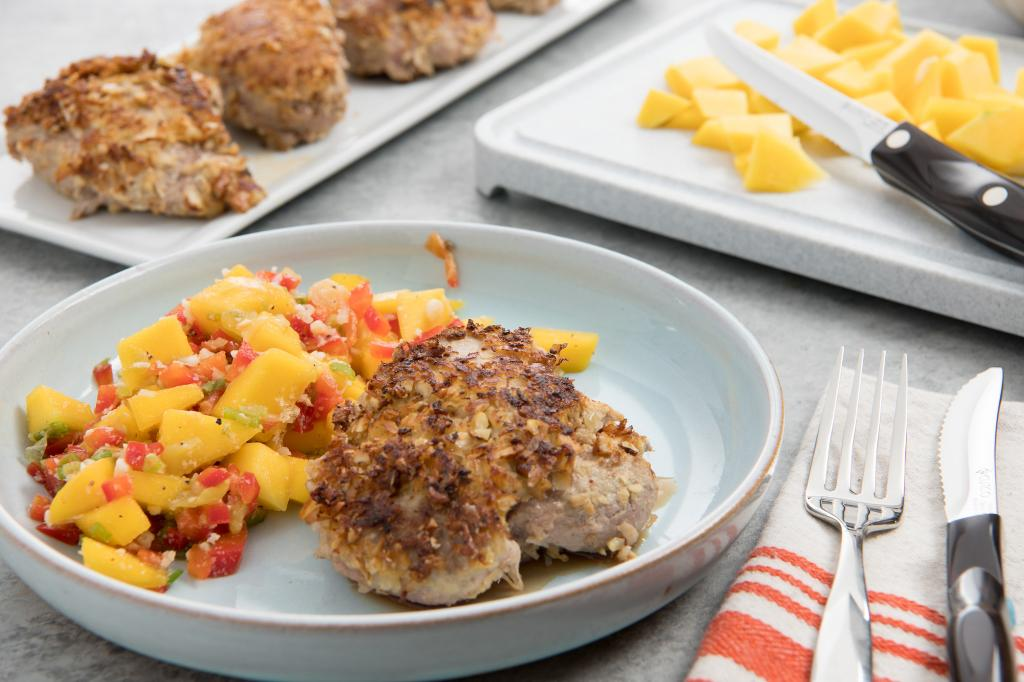 Coconut-Crusted Pork Tenderloin with Mango Salsa