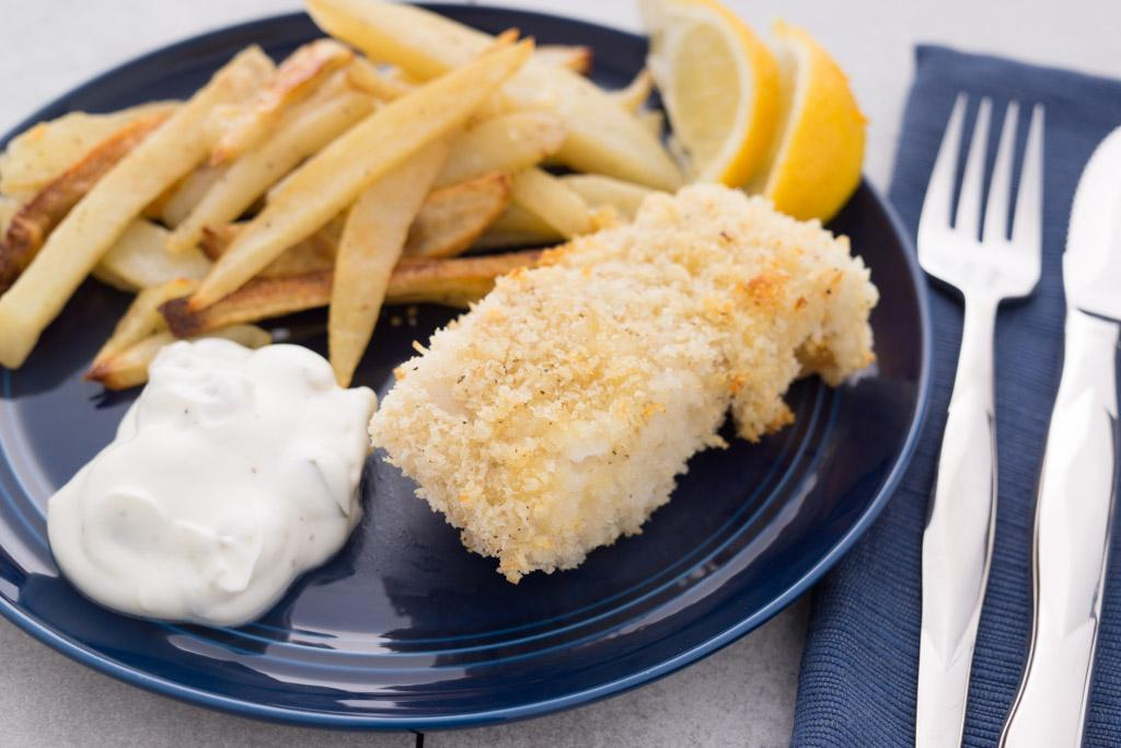 Fish and Chips with Pickle Dipping Sauce