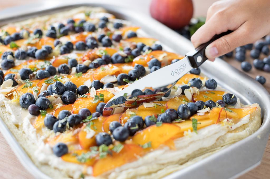 Fruit Slab Pie With Peaches And Blueberries