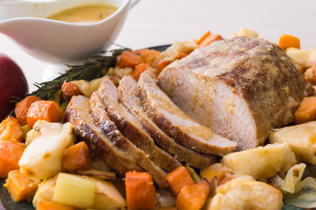Roasted Pork Loin with Vegetables and Apples