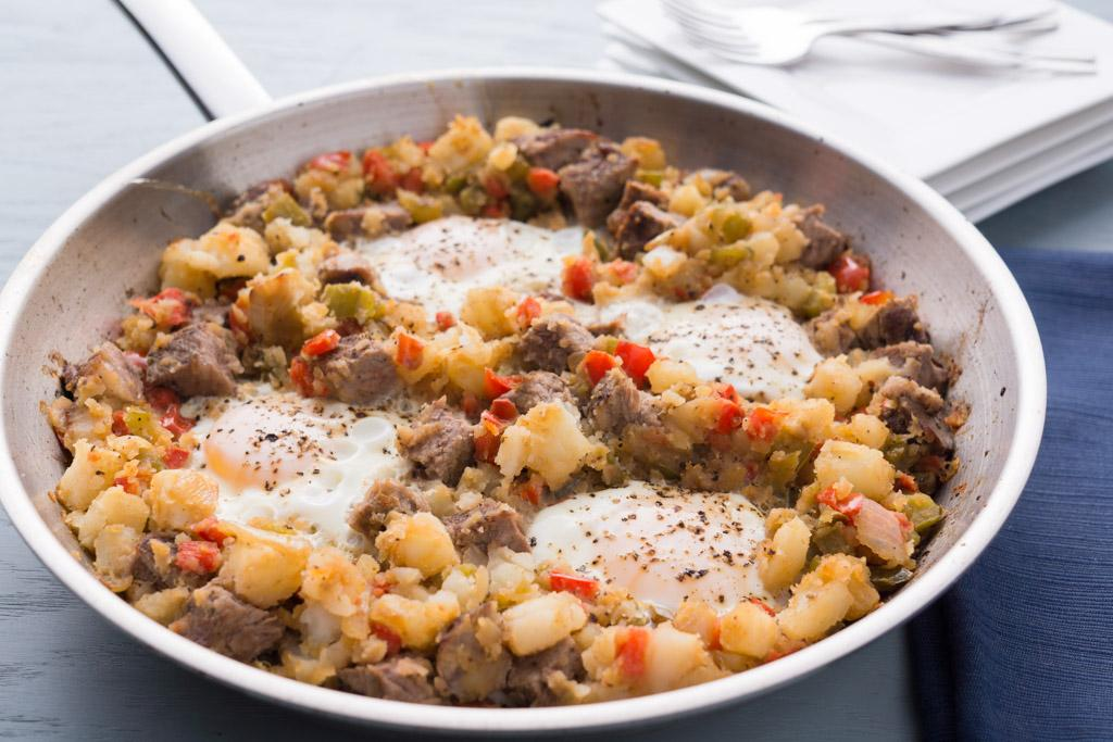 Crispy Skillet Potatoes with Steak and Eggs