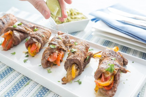 Steak Fajita Roll-Ups Appetizer