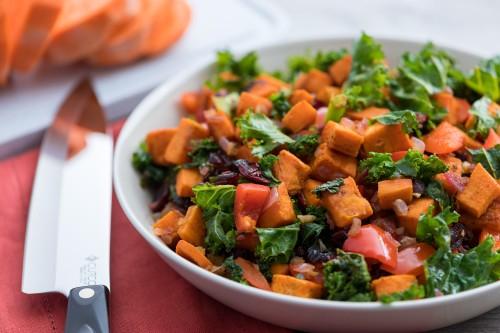 Roasted Sweet Potato and Kale Hash