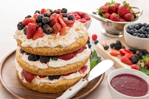 Triple Berry Shortcake with Triple Berry Sauce and Chai Whipped Cream