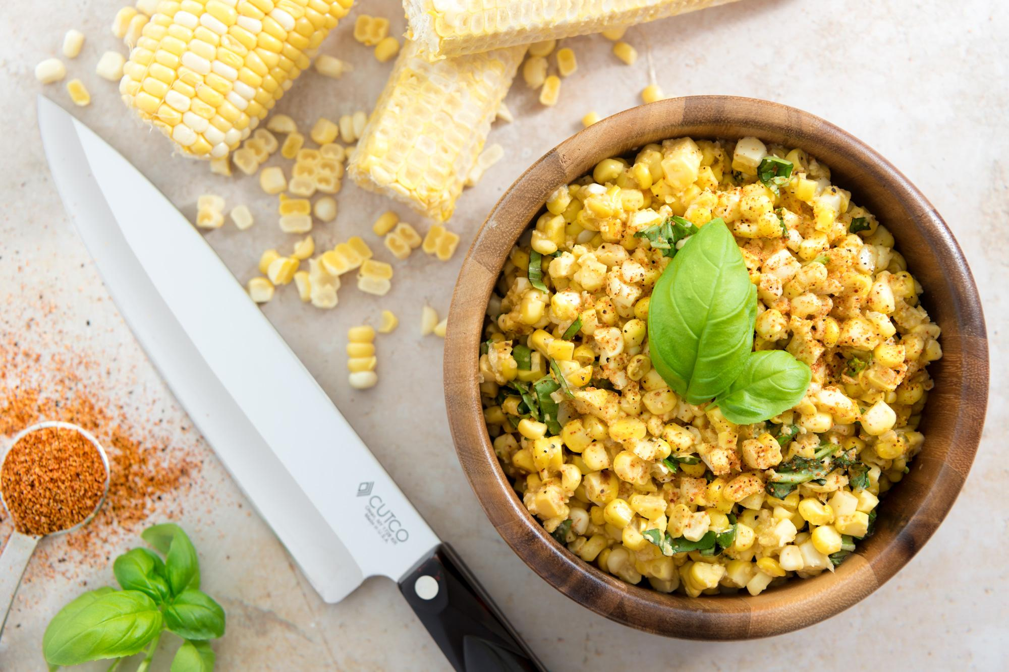 Creamed Corn with Basil