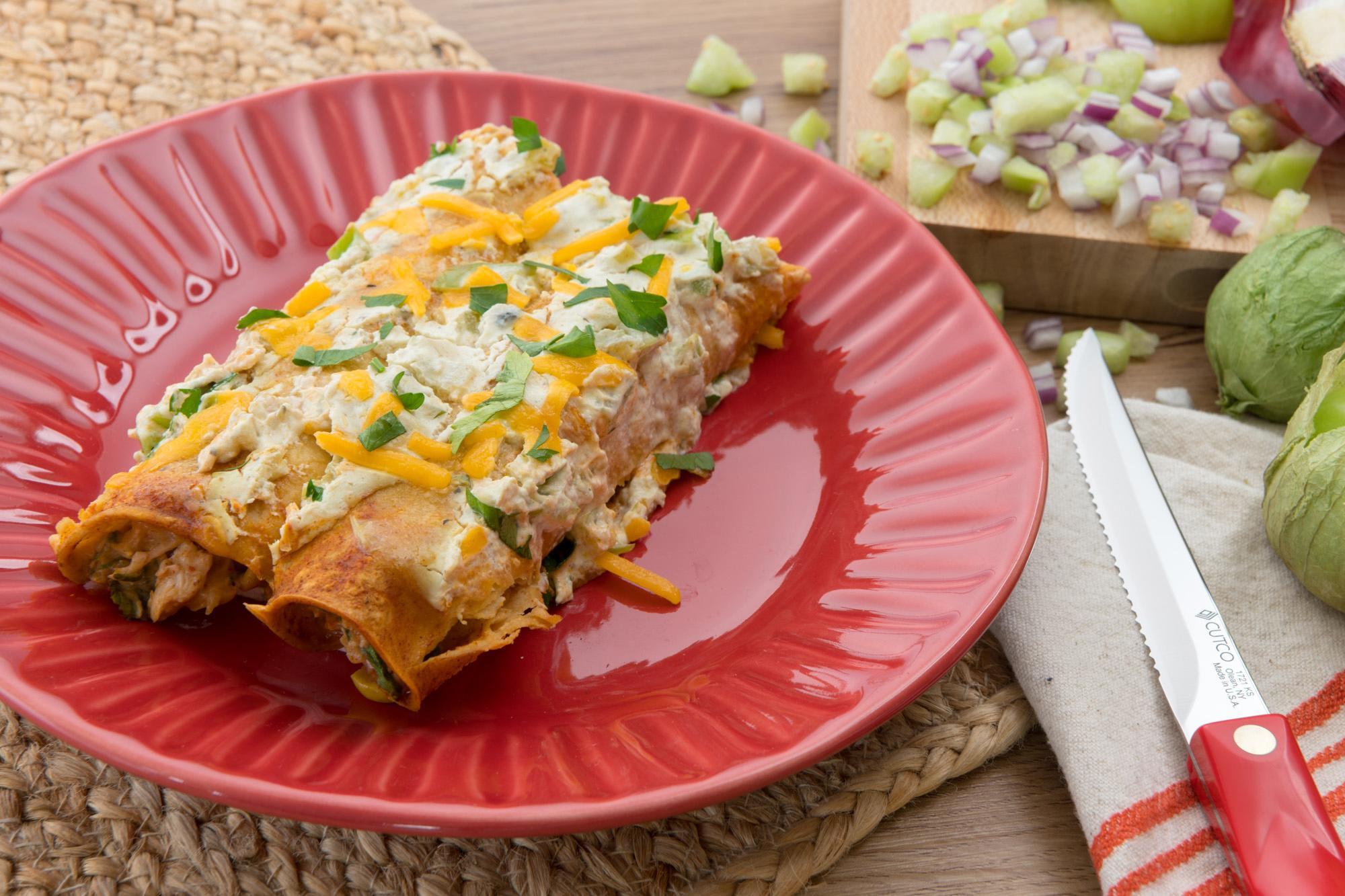 Chicken and Corn Enchiladas with Salsa Verde