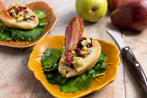 Roasted Stilton Pear Salad with Bacon Vinaigrette