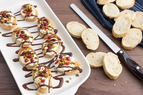 Pomegranate, Pistachio and Dark Chocolate Crostini