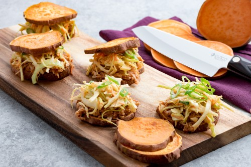 Pulled Barbecue Chicken Sweet Potato Sliders