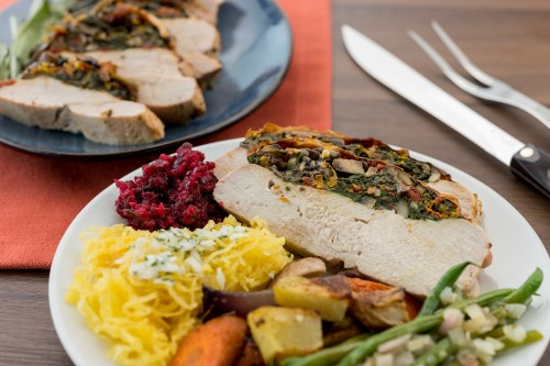Golden Roasted Turkey Breast with Orange Zest, Spinach & Sun-Dried Tomato Stuffing