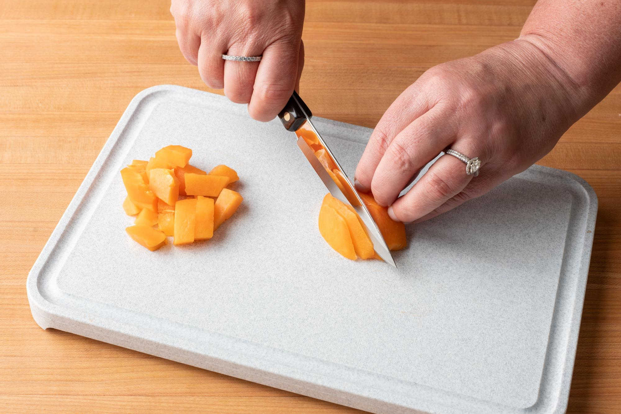 The 4 inch Paring Knife is perfect for dicing the apricots.