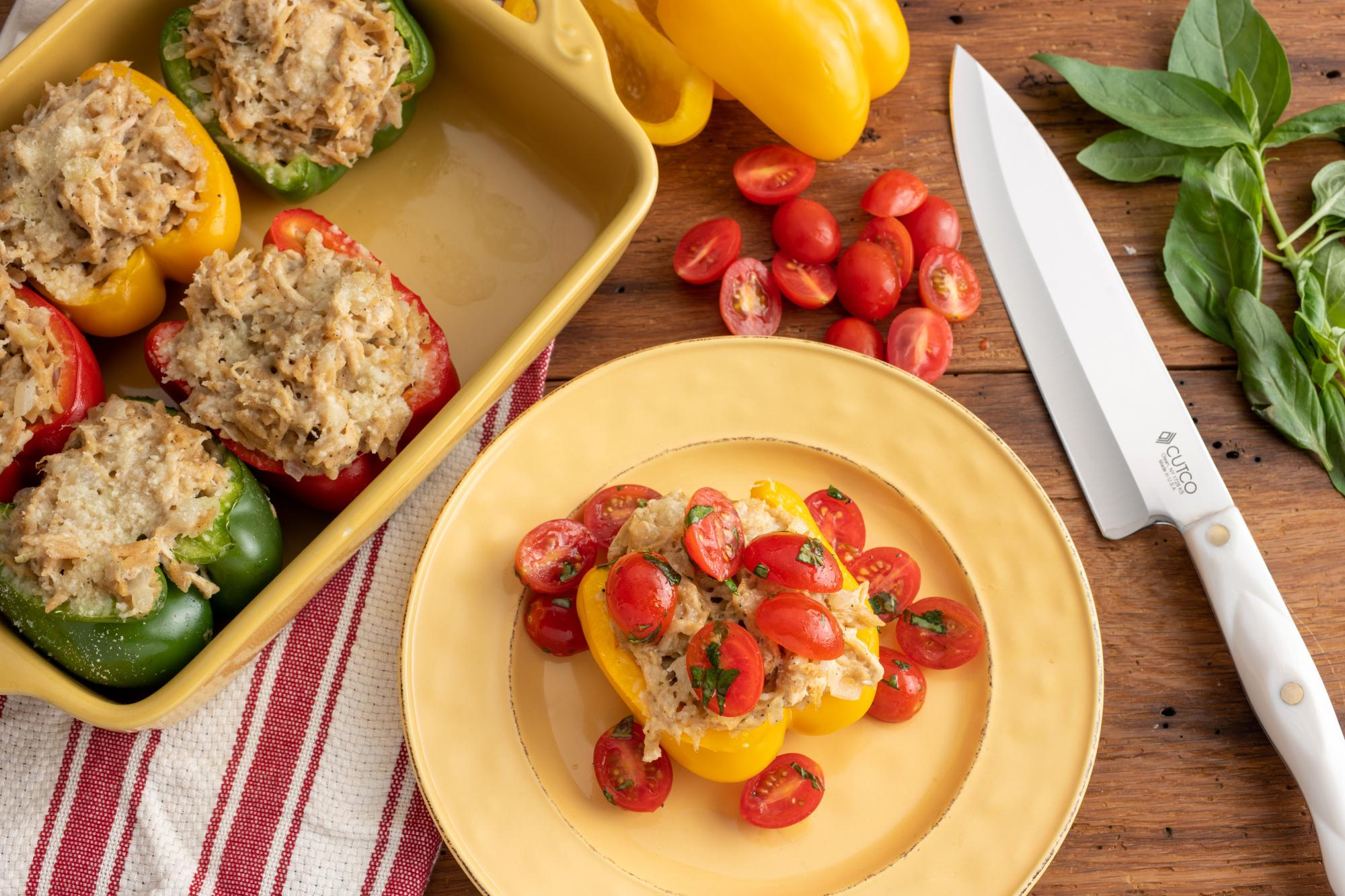 Stuffed Peppers with Rotisserie Chicken and Orzo