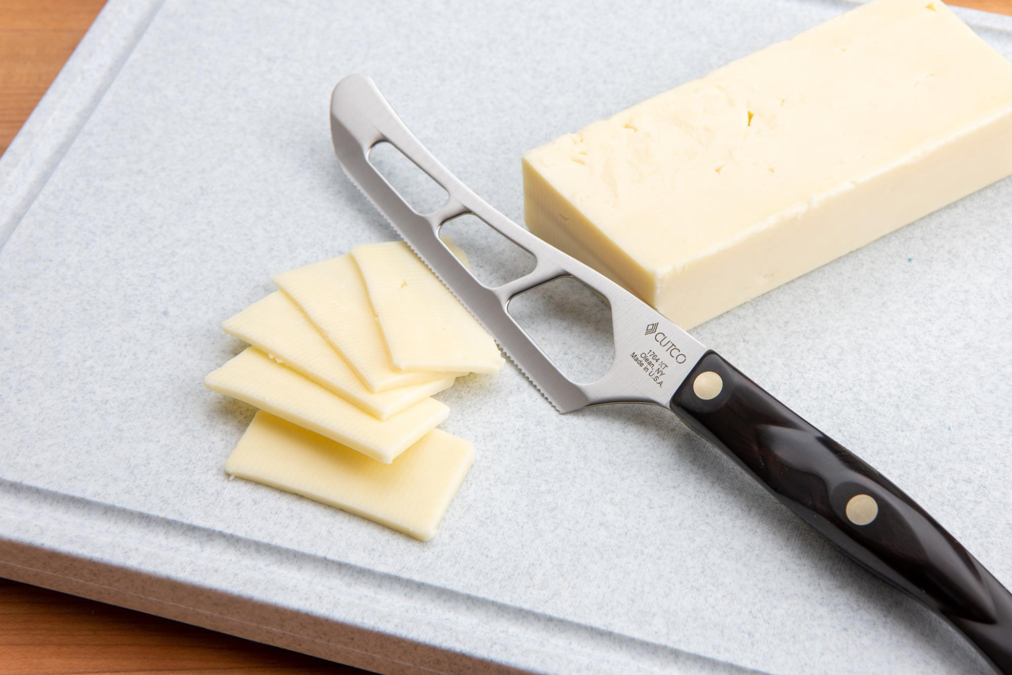 The Traditional Cheese Knife is perfect for cutting cheese into thin slices.