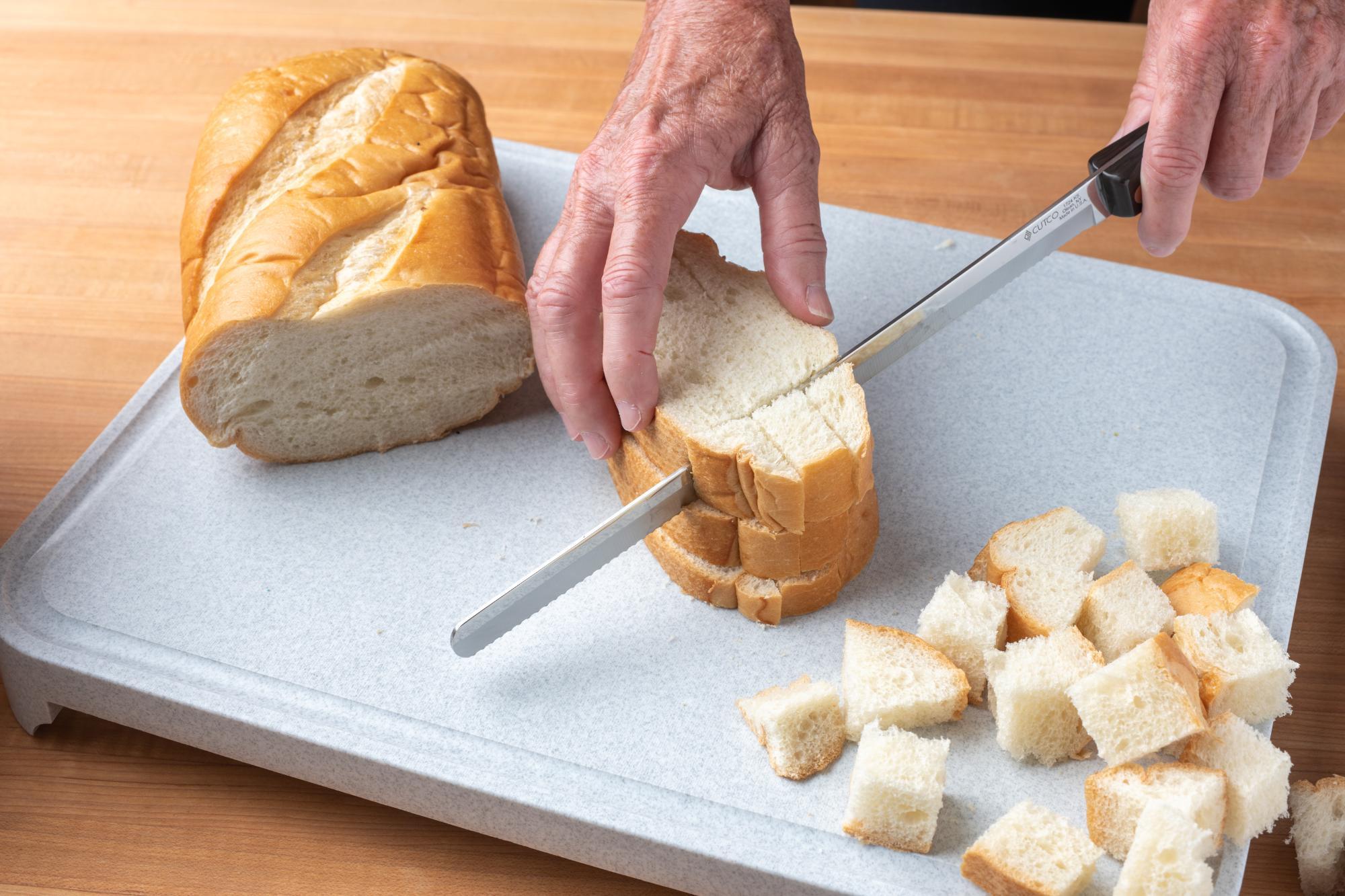 Dicing the bread.