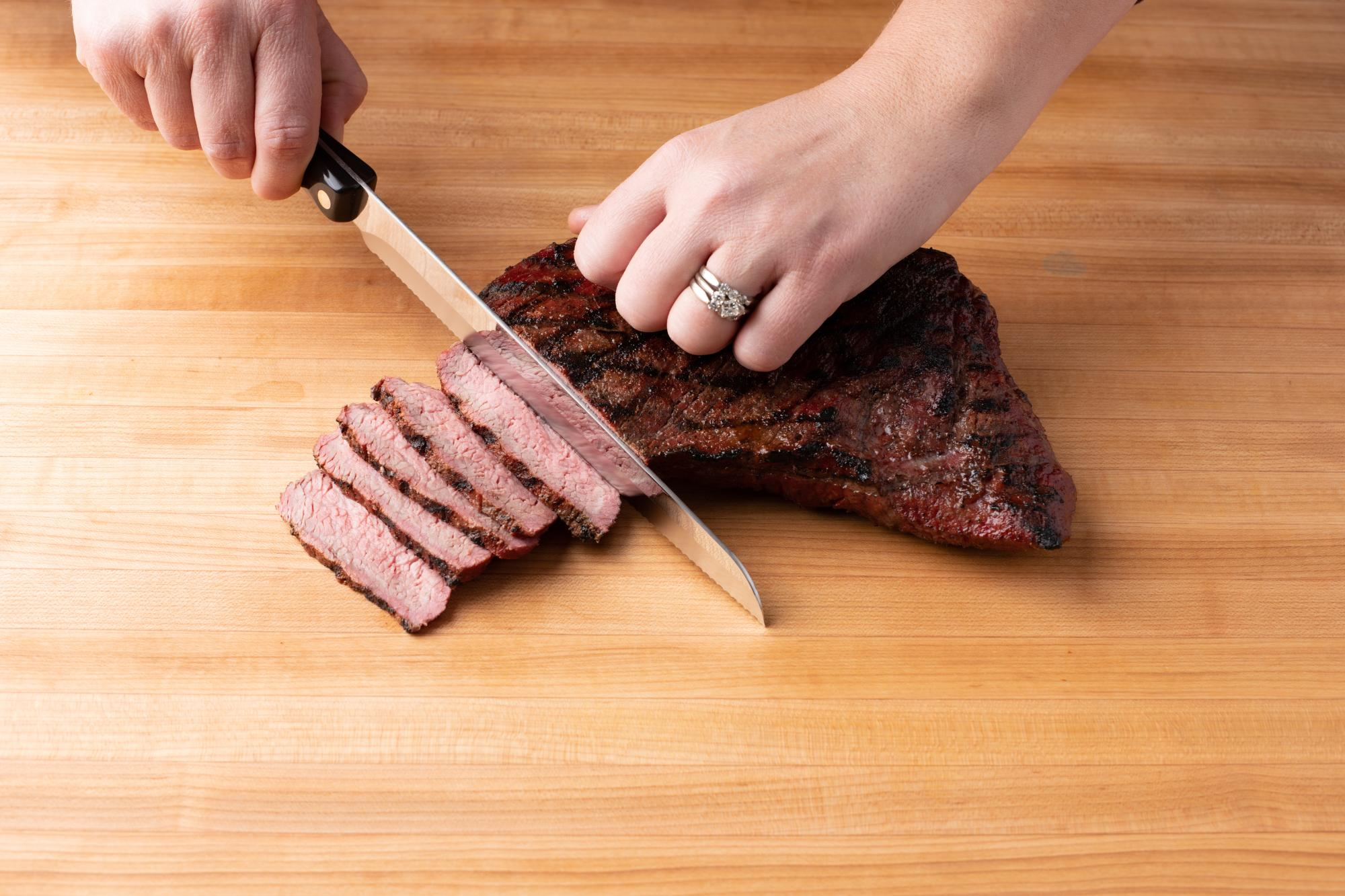 Santoku Style Carver is used to evenly slice the tri-tip