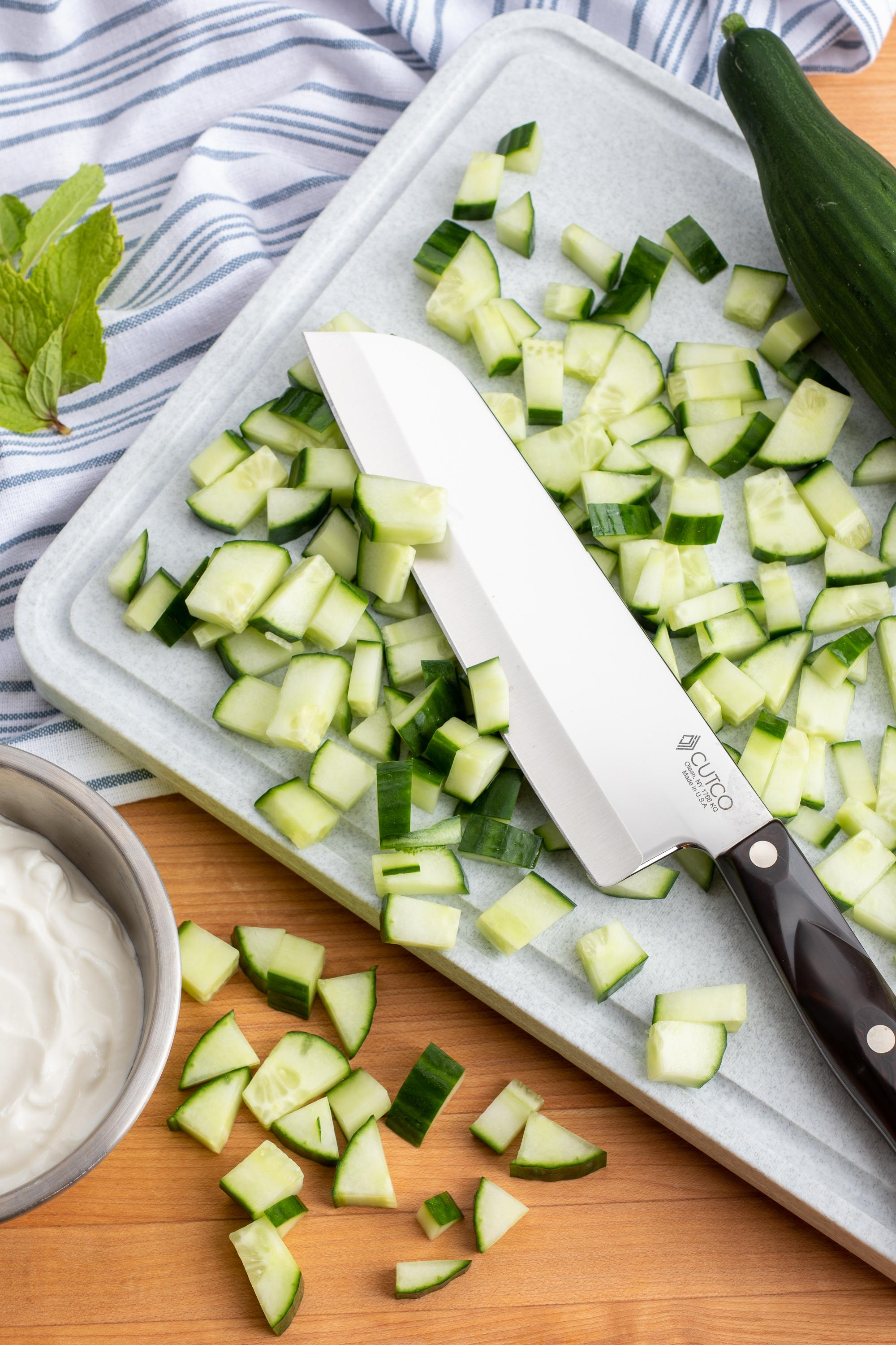 Diced up Cucumber with a 7 Inch Santoku.