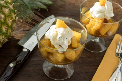 Rum-Poached Pineapple