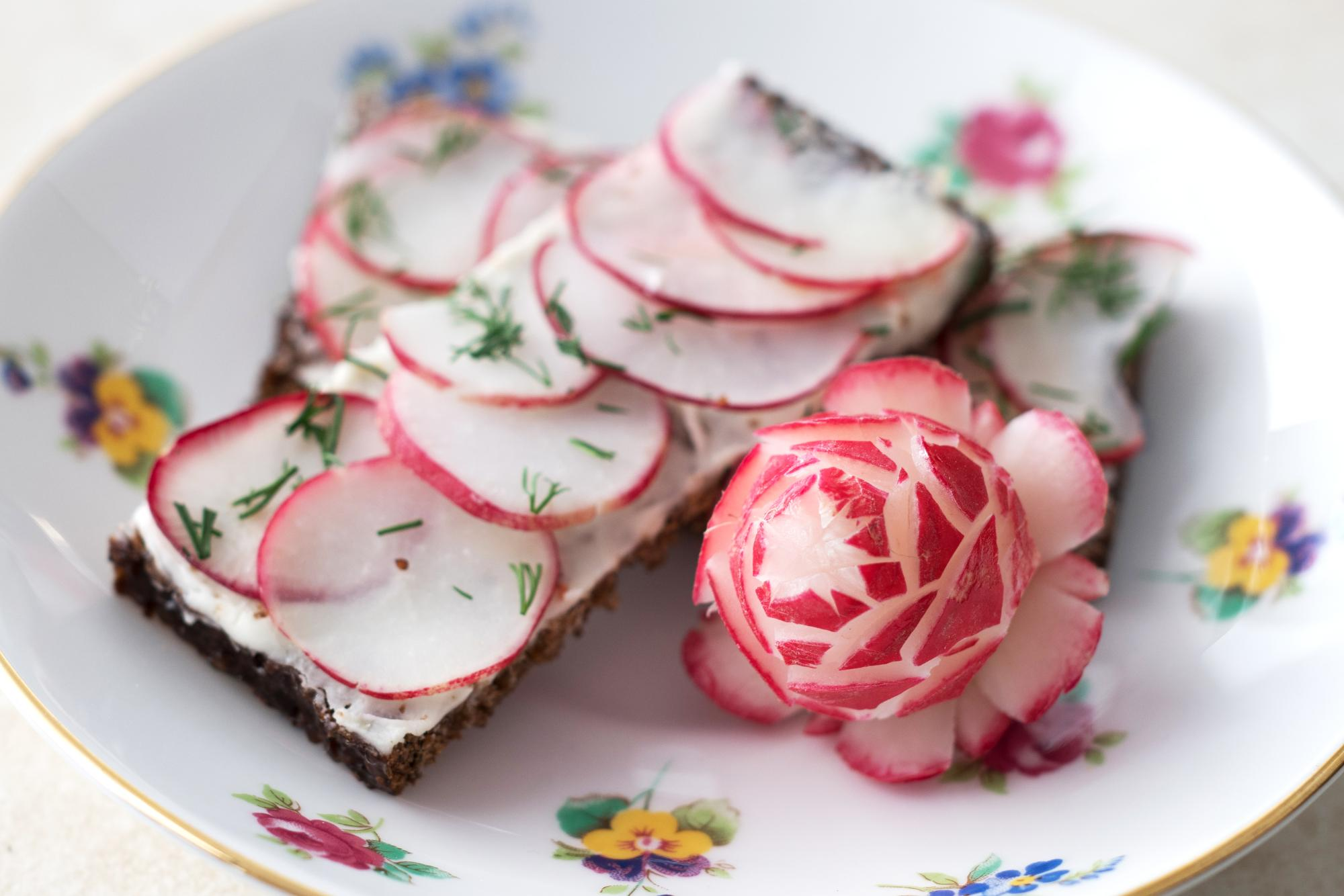 This is a picture of a radish rose.