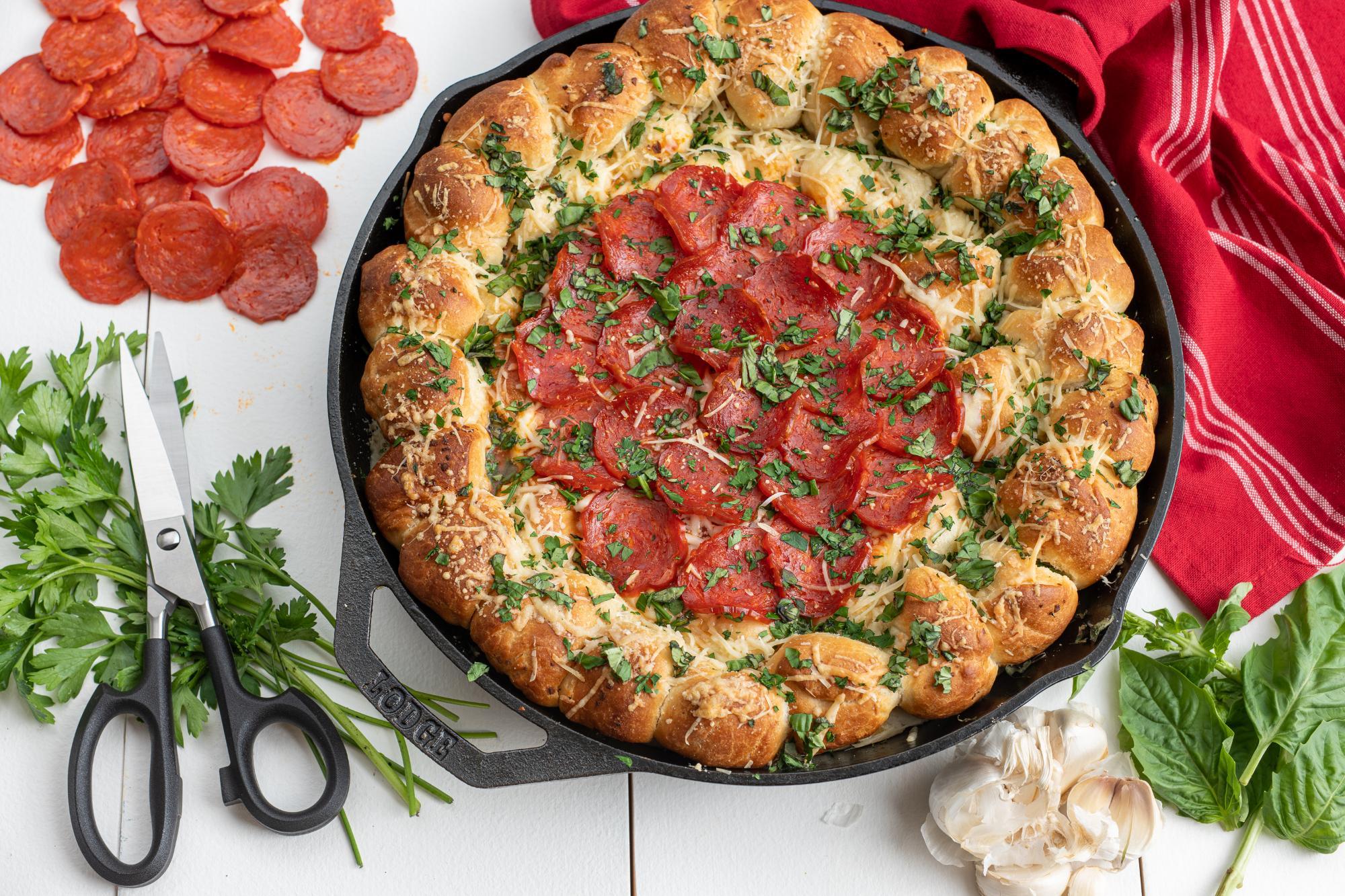 Pizza Dip Appetizer in a Skillet