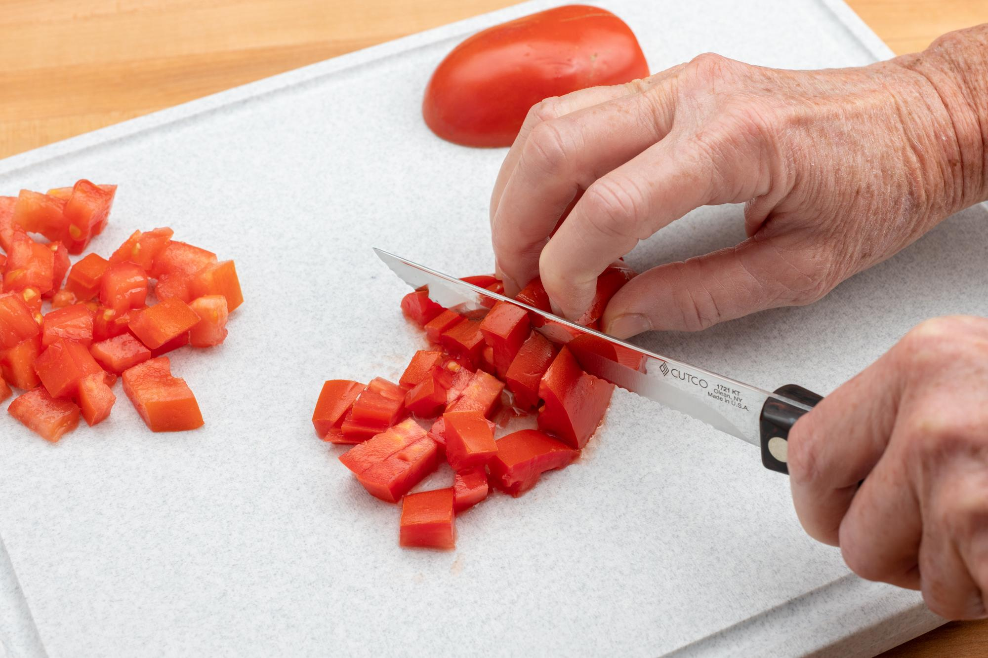 Using the Trimmer to dice tomatoes.