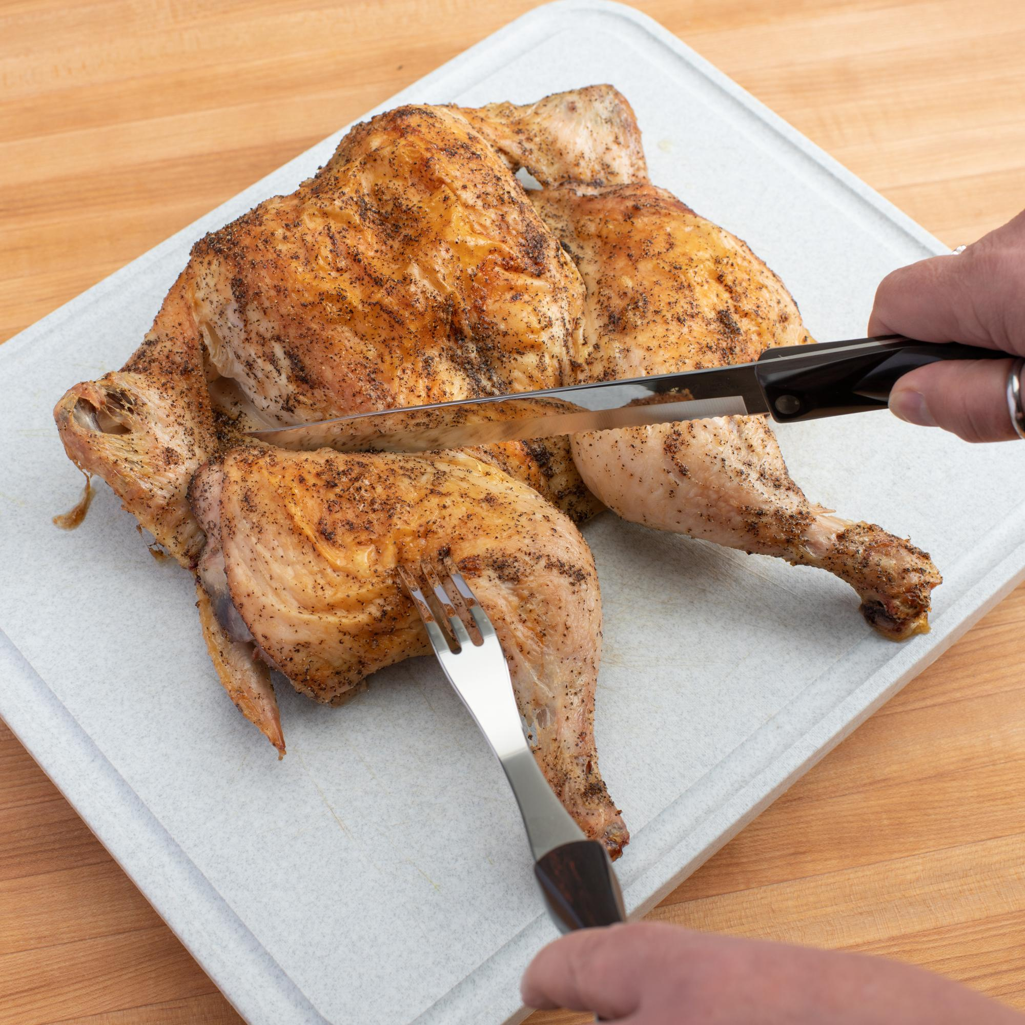 Carving the chicken with the Petite Carver.
