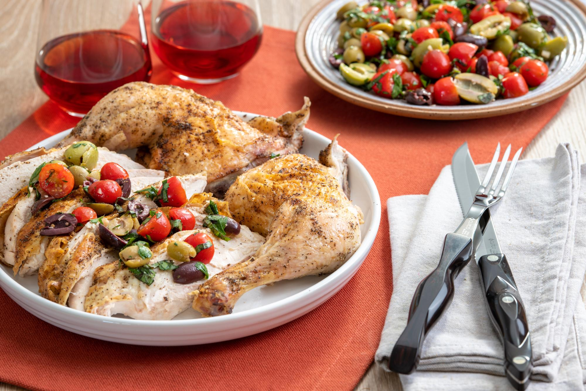 Chicken with Green Olives, Tomato and Parsley