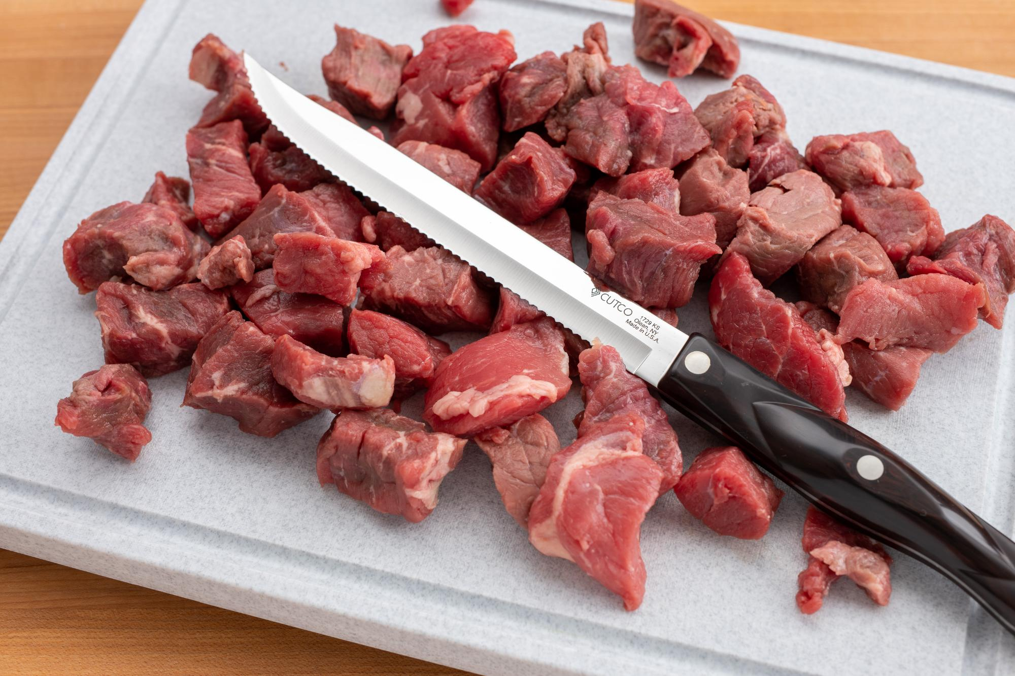 Cubed meat with a Petite Carver.