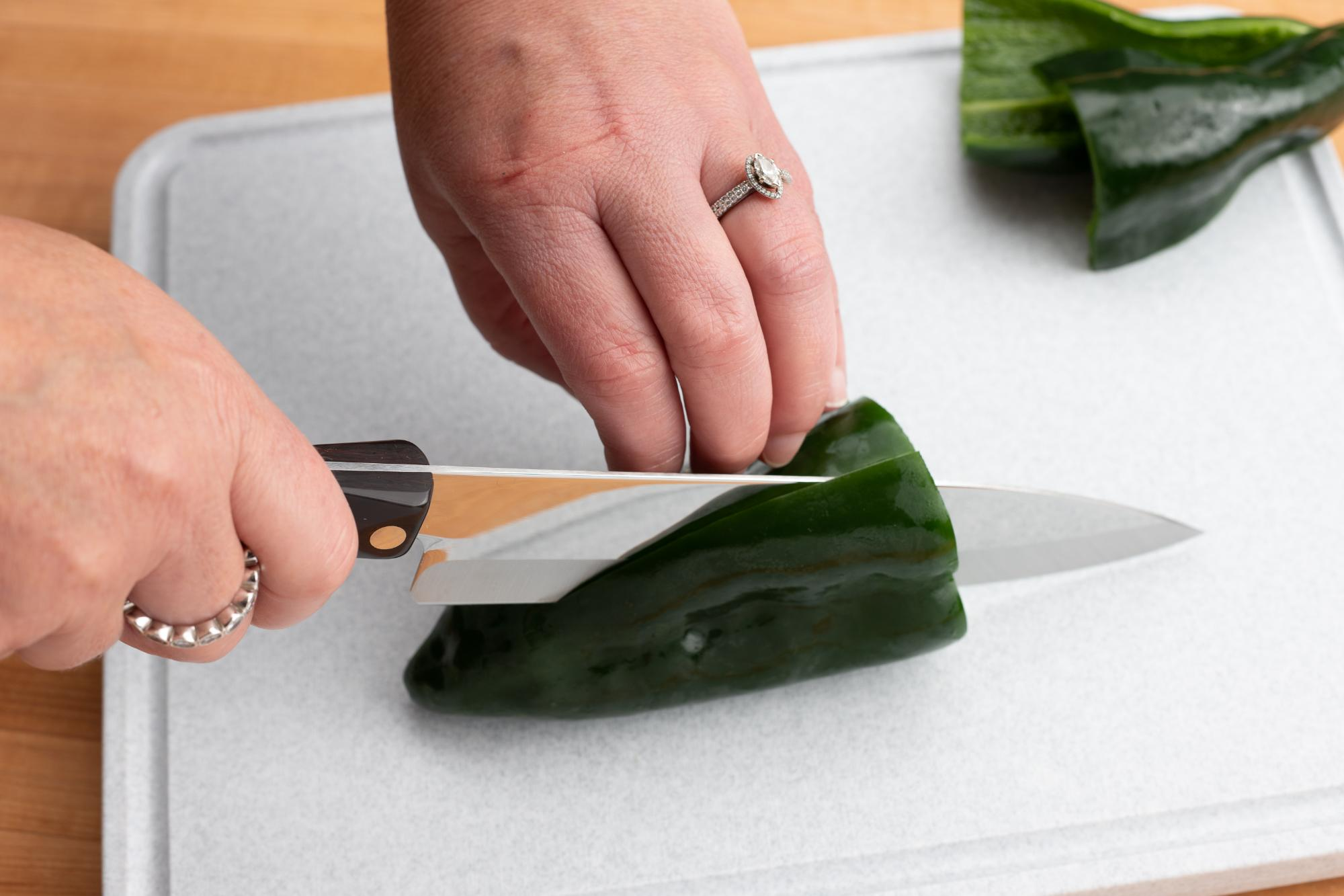 Using the Petite Chef to slice the poblano peppers.