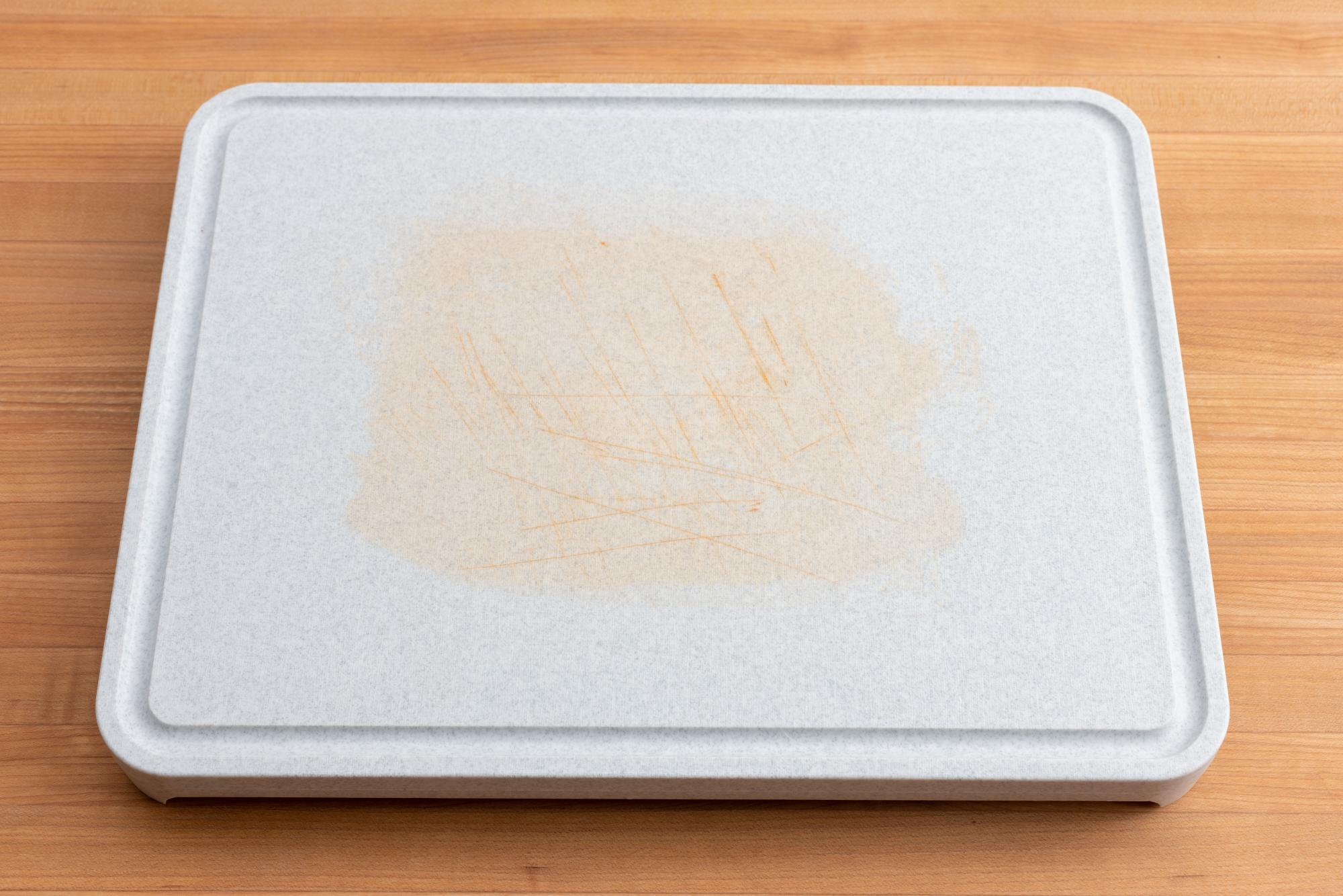 Stained cutting board.