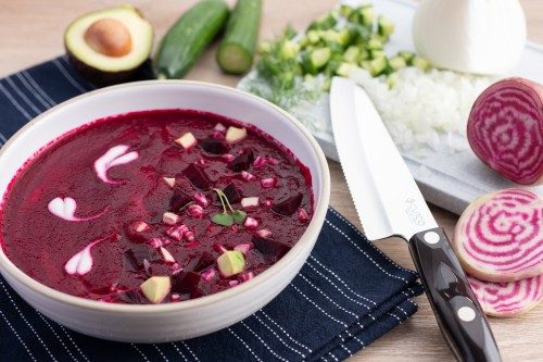 Cold Beet Soup with Avocado, Cucumber and Greek Yogurt