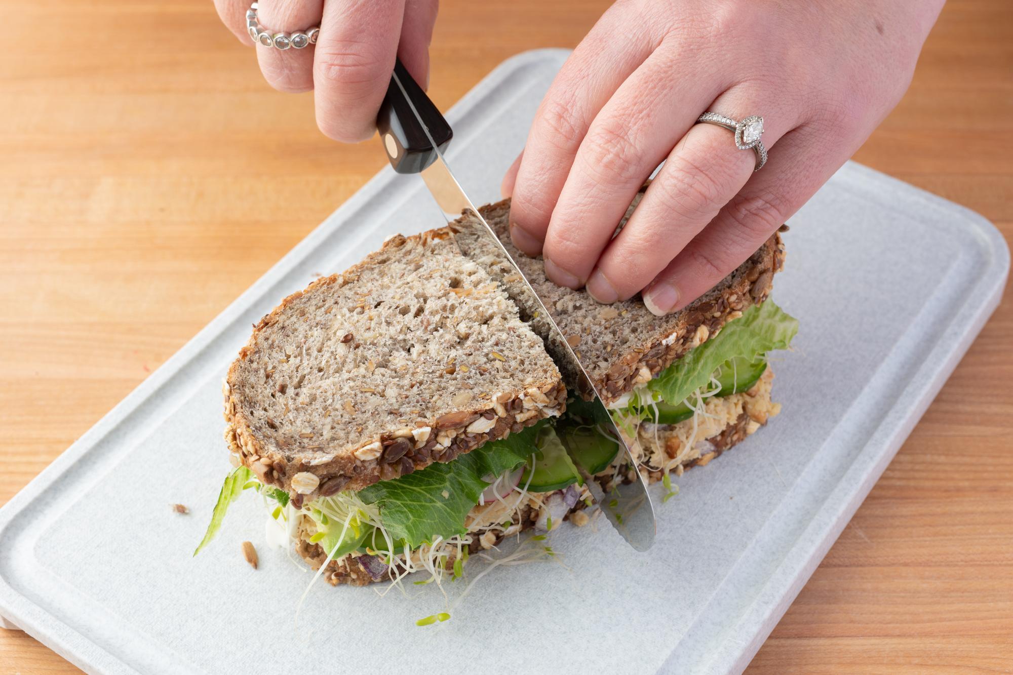 Cutting the sandwich in half with a Spatula Spreader.