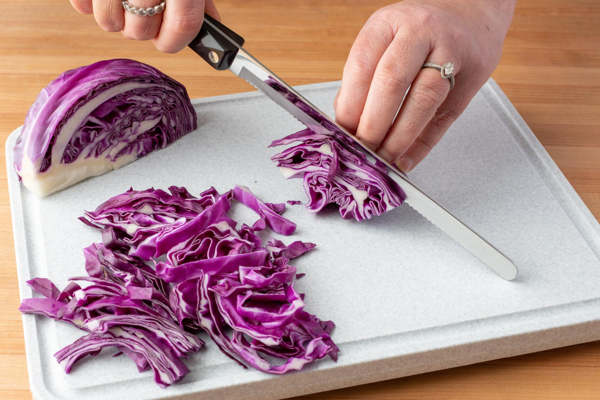 Shredding the cabbage with a Petite Slicer.