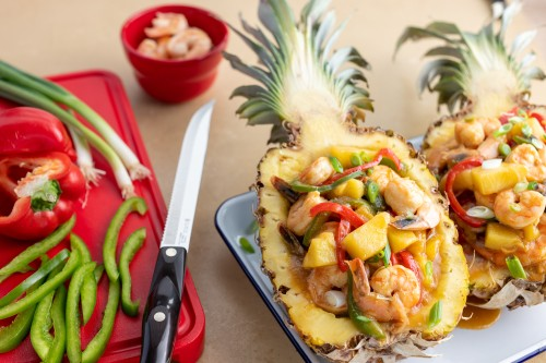 Pineapple Shrimp Boats with Bell Peppers