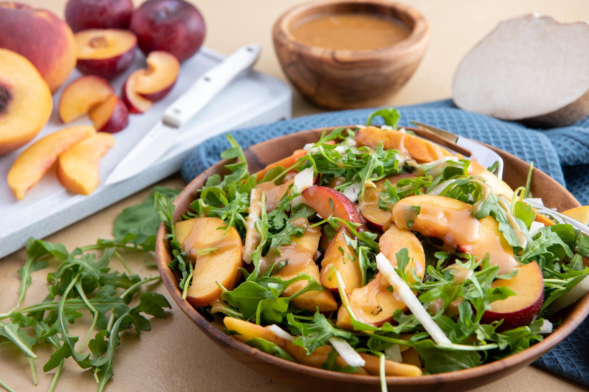 Plum, Peach and Jicama Salad with Plum Vinaigrette