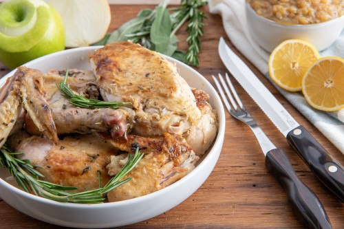 Roasted Chicken Under a Brick with Apple Rosemary Sauce