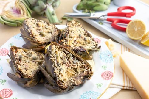 Roasted Artichoke with Parmesan, Garlic and Lemon