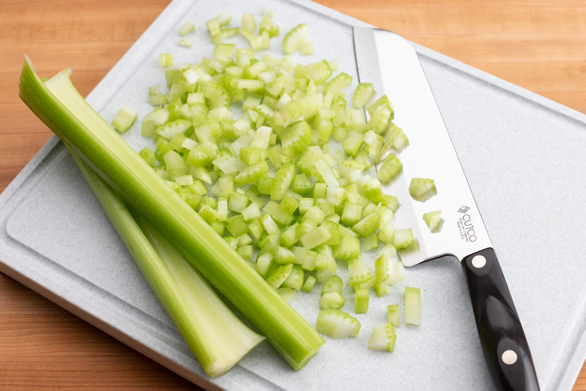 Santoku used to dice celery.