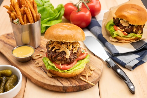 Grilled Burgers Stuffed With Gruyere And Havarti Cheeses