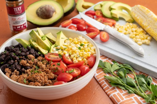 Taco Bowl with Couscous, Ground Turkey, Corn and Avocados