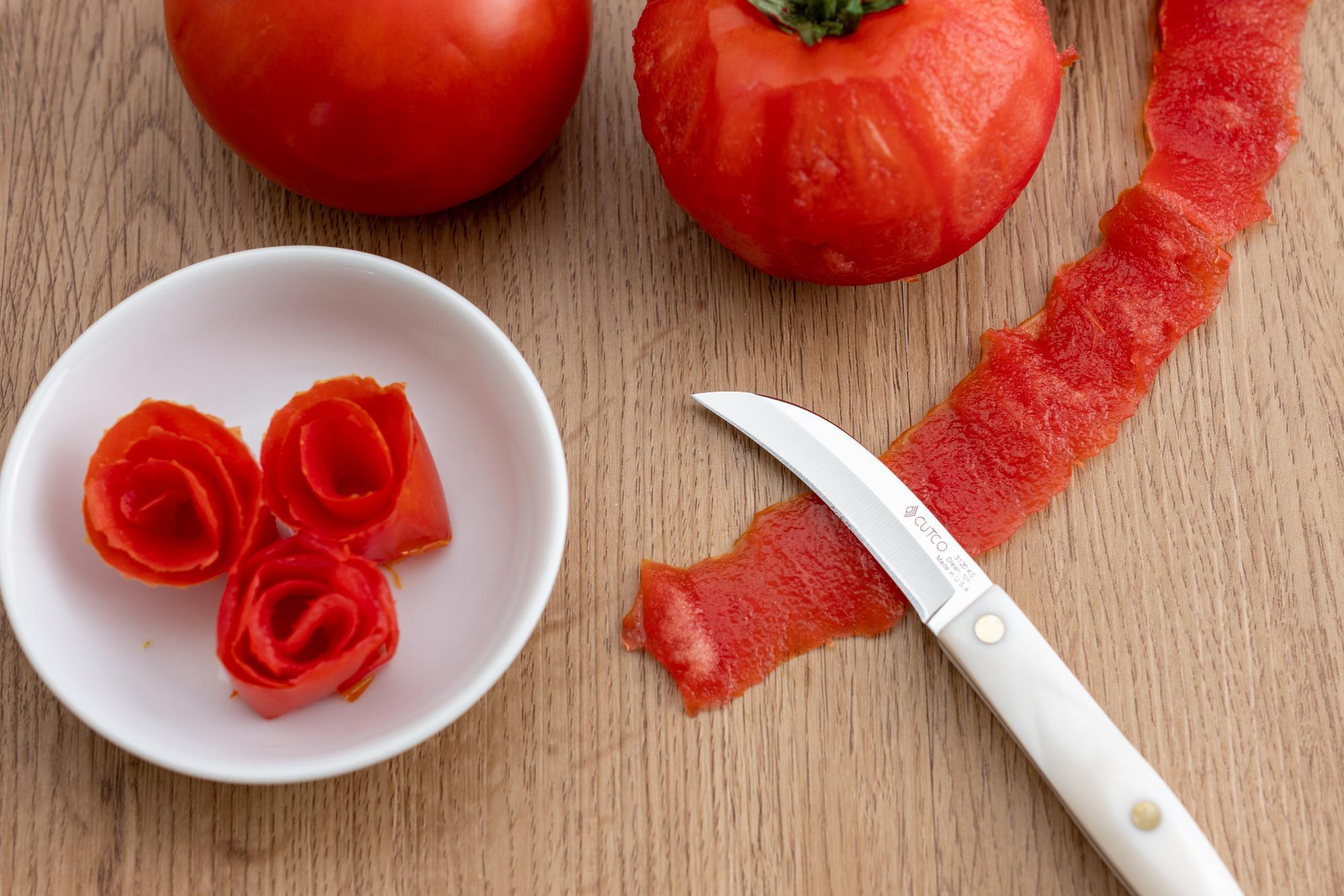 Tomato rose garnish.